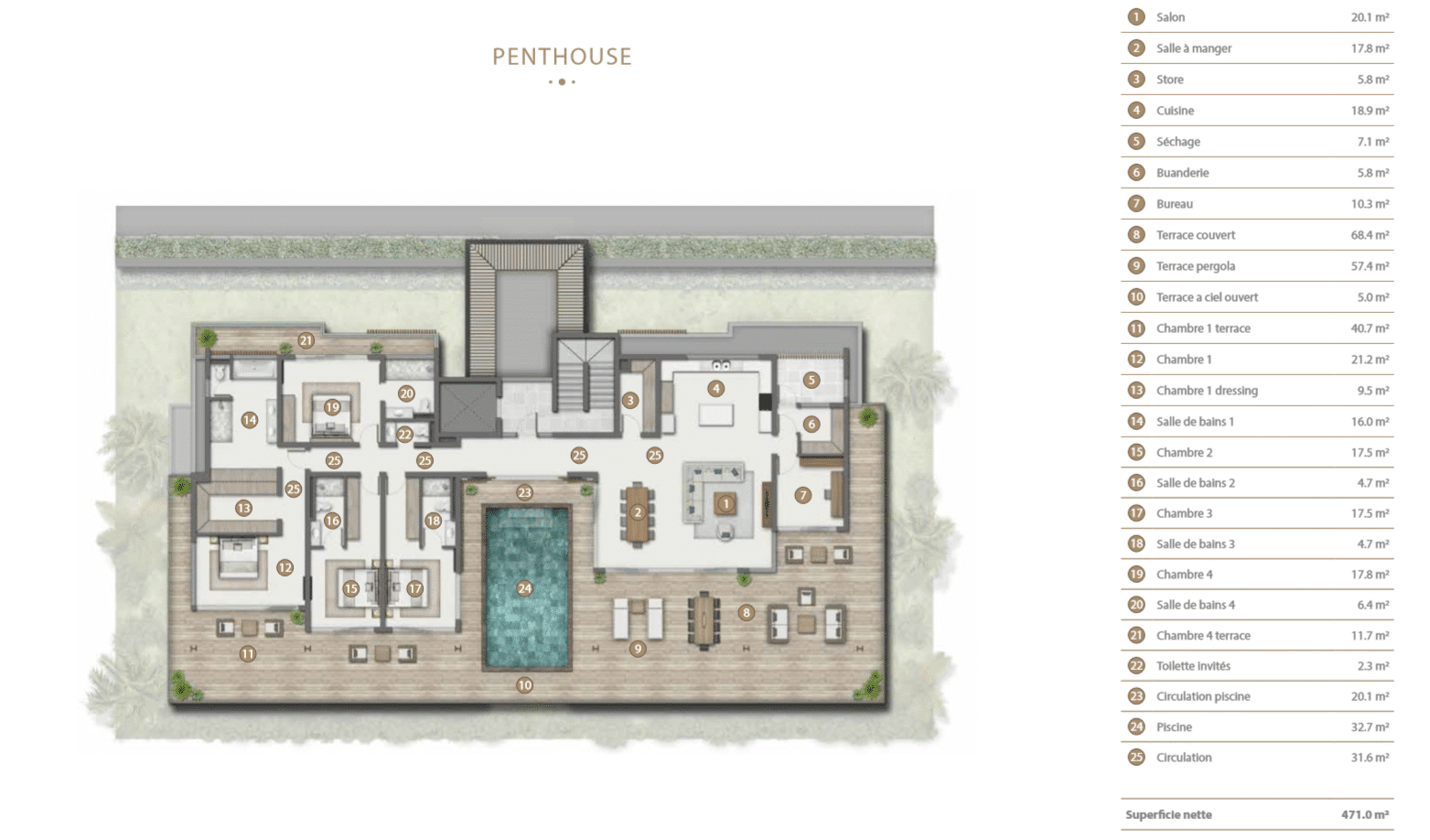 Plan Penthouse Legend Hill Ile Maurice